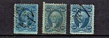 1862-71 U.S.First Issue Revenue Washington 10c Blue LOT OF 3 Sc#R34c- Pen Cancel