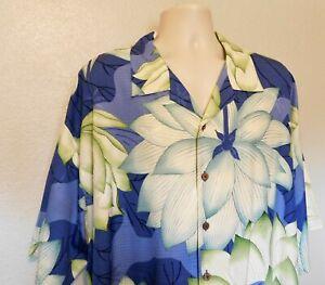 Tommy Bahama Hawaiian Shirt XXL Blue Green White Floral Short Sleeve 100% Silk