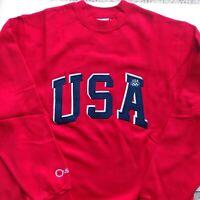USA EMBRORED SWEATSHIRT SIZE MEDIUM NEW OLD STOCK USA FLAG ON BACK OLYMPIC GAMES