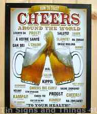 How to Toast Cheers Around the World TIN SIGN metal wall decor bar beer mug 1829