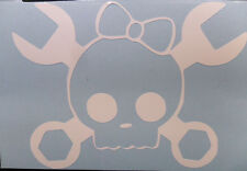 Skull MECHANIC Girl Wrench with Bow Decal Sticker You pick COLOR  CAR window