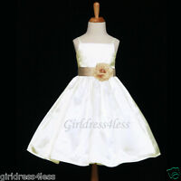 US SELLER IVORY/CHAMPAGNE WEDDING PARTY FLOWER GIRL DRESS 12M 18M 2 4 6 8 10 12