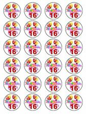 X24 16TH BIRTHDAY PARTY CUP CAKE TOPPERS DECORATIONS ON EDIBLE RICE PAPER