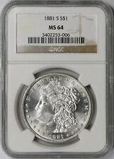 1881-S Morgan Silver Dollar $1 MS 64 NGC