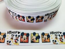 """5 Yards 1"""" Mickey mouse Grosgrain Ribbon Hair Bow Supply."""