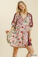 Umgee Blush Bohemian Floral Print Mandarin Collar Puff Sleeve Dress Size Small