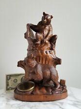 OLD Carved Wood/Carving Tobacco Jar/Humidor-BEAR-Black Forest German/Brienz
