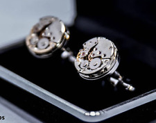 Cufflinks Men's Watch Movement Cuff Links, Shirt Suit French silver gold