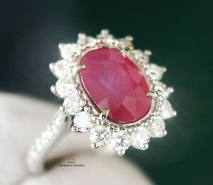 Ruby Gold Ring Diamond Natural NO HEAT 5.62CTW GIA Certified RETAIL $17300