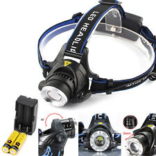 Vander 8000LM T6 LED Headlight Head Lamp Searchlight + 2x 18650 Battery & Charge
