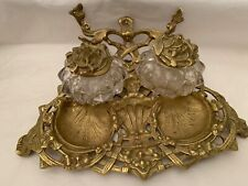Antique Victorian footed heavy cast brass inkstand composed of two glass inkwell