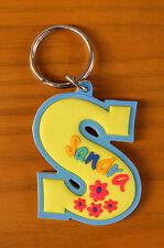 Rubber Name Key Fob Key Ring Yellow / Blue SANDRA - S Shape