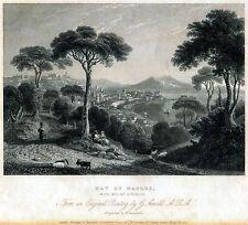 Napoli: Panorama con Golfo e Vesuvio. Acciaio. Stampa Antica + Passepartout.1844