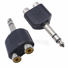 2 pcs 6.5mm Male Stereo Plug to 2 RCA Female Y Splitter Audio Adapter Connector