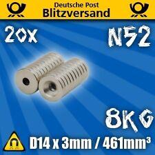 20x Neodym Magnet D14x3 mit Senkung 8kg N52 - Industriemagnet Permanentmagnet