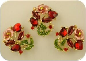 Rose Flower Beads Red Siam Swarovski Crystal Elements Gold 2 Hole Sliders QTY 3