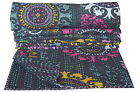 INDIAN COTTON KANTHA QUILT BEDSPREAD TWIN THROW Ethnic Bedding Blanket Bed Cover