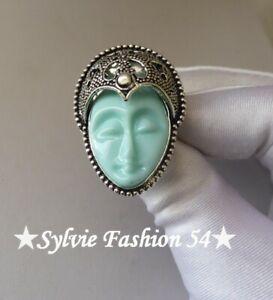 🌟 Superbe bague plaqué argent 925 décorée visage déesse Balinaise bleu T 55