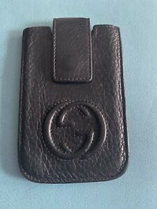 Genuine Gucci GG Black Leather Pouch Card / Phone Holder