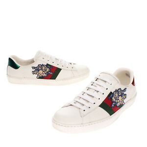 RRP €635 GUCCI Sneakers Size 41.5 UK 7.5 US 8 Logo Patches Lace Up Made in Italy
