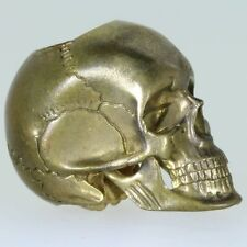 Anatomical Skull No.10.1 Paracord/Leather Bead in Brass by Techno Silver