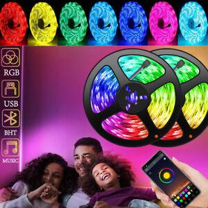 5M USB LED Strip Lights TV Back Light 5050 RGB Color Change Bluetooth APP Remote