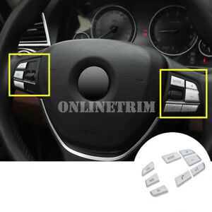 Inner Steering Wheel Button Trim Cover 7pcs For BMW 5 Series F10 F11 2014-2016