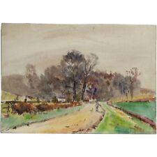 ORIGINALE FIRMATO woolhampton Berkshire Paesaggio Acquerello Albert Cooper
