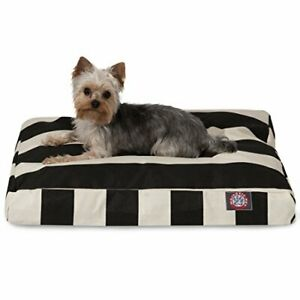 Black Vertical Stripe Small Rectangle Indoor Outdoor Pet Dog Bed With Removab...