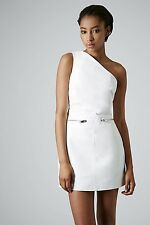 Topshop White Real Leather Dress with One Shoulder  Size 10