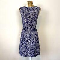 New Look Dress 14 Navy Aline Paisley Sundress Fit Flare Summer Holiday Boho Blue