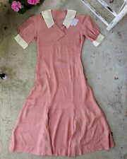 Vintage 30s Silk Collared Gingham Maxi Dress XS S