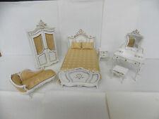 DOLLHOUSE BEDROOM SET- 6PC. SET- WHITE WITH GOLD TRIM