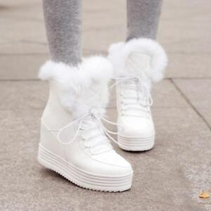 Plus Size Womens Warm Fur Lace Up High Wedge Hidden Heel Platform Ankle Boot New