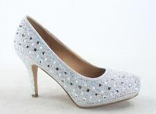 Women's Sexy Bridal Party Rhinestone Round Toe Stiletto Heel Shoes Size 5 - 10