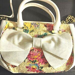 BETSEY JOHNSON Mini XBody Floral Textured BOW NANZA Sand Purse Handbag