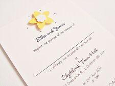 Set of 50 Personalised Handmade Daffodil Flower Wedding Invitations