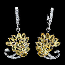 GORGEOUS NATURAL RICH YELLOW CITRINE,W CZ STERLING 925 SILVER SWAN DROP EARRINGS