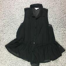 Charming Charlie Size L Peplum sheer blouse sleevless black Womens