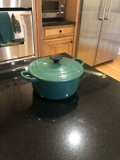 New listing Vintage Le Creuset Blue Enamel Cast Iron Round Dutch Oven W/ Lid #18 Nice!