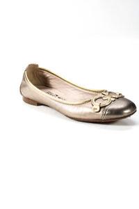 Ferragamo Womens Metallic Round Toe Flats Silver Gold Size 6.5 B