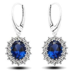 925 Sterling Silver Crown Oval Blue Cubic Zirconia Leverback Earring & Set