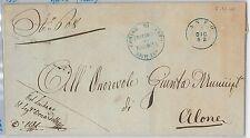 ITALIA REGNO storia postale - BUSTA da ANFO (BLU!) spedita in FRANCHIGIA 1862