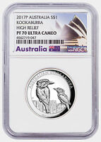 2017-P Australia 1 oz High Relief Silver Kookaburra $1 Coin NGC PF70 UC SKU48628