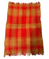 "VTG GLENTANA Scotland Mohair Throw Blanket Orange Yellow Plaid 60"" X 38"" DS"