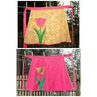VTG 50's Reversible Pink Tulip Design Cotton Half Hostess Apron Tulip Pockets