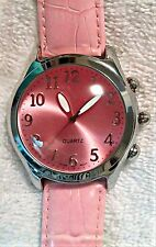 Wristwatch Big Face Pink Leather Band Stainless Case Quartz Mvmt Lg Dial Watch