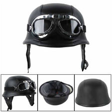 Motorcycle Half Face Helmet Biker Pilot Goggles German Black ABS Soft interior