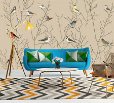 Birds Pattern Wallpaper Self-adhesive Mural Sticker Decal Room Decor Removable