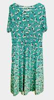 Boden Light Green Ditsy Floral Polka Dot Print Midi Maxi Dress Empire Waist 12